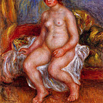 Nude Woman on Gree Cushions - 1909, Pierre-Auguste Renoir