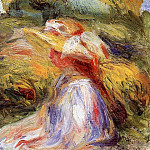 Young Woman in a Hat - 1918, Pierre-Auguste Renoir