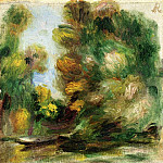 Banks of the River, a Boat, Pierre-Auguste Renoir