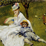 Camille Monet and Her Son Jean in the Garden at Argenteuil – 1874, Pierre-Auguste Renoir
