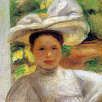 Young Woman in a Hat - 1895, Pierre-Auguste Renoir
