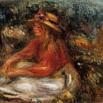 Young Woman Seated on the Grass - 1905, Pierre-Auguste Renoir