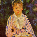 Young Woman in a Blue and Pink Striped Shirt - 1875, Pierre-Auguste Renoir