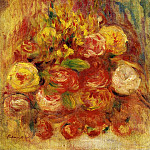 Pierre-Auguste Renoir - Flowers in a Vase with Blue Decoration