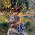 Пьер Огюст Ренуар - The Embroiderer (also known as Woman Embroidering in a Garden) - 1898