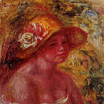 Пьер Огюст Ренуар - Bust of a Young Girl Wearing a Straw Hat - 1917