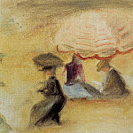Пьер Огюст Ренуар - On the Beach, Figures under a Parasol - 1898