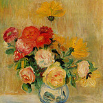 Pierre-Auguste Renoir - Vase of Roses and Dahlias - 1883 - 1884