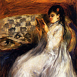 Young Woman in White Reading - 1873, Pierre-Auguste Renoir