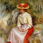 Gabrielle in a Straw Hat – 1900, Пьер Огюст Ренуар