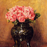 Roses in a China Vase – 1876, Pierre-Auguste Renoir