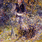 Young Woman on a Bench - 1875, Pierre-Auguste Renoir