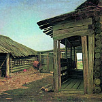 Village courtyard. End of 1860 55h77, Ivan Ivanovich Shishkin