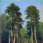 Forest Stream. Canvas on wood 25h16. 5, Ivan Ivanovich Shishkin