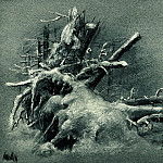 uprooted stumps under the snow, the 1890 paper. charcoal, chalk 23, 8h31. 1, Ivan Ivanovich Shishkin