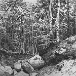 On the mountain around Castel Alushta 1879 31, 7h45, 9, Ivan Ivanovich Shishkin