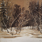 Forest in winter. 1884 paper brown. charcoal, chalk, 49 3h64, 1, Ivan Ivanovich Shishkin