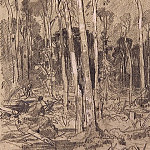 Spring in the woods. 1880, 26h17, 6, Ivan Ivanovich Shishkin
