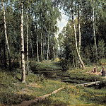 Ivan Ivanovich Shishkin - Stream in a Birch Forest 1883 105h153