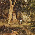 Woman with a boy in the woods 1868. Paper, pen, ink, watercolor, lacquer 43, 8h31, 6, Ivan Ivanovich Shishkin