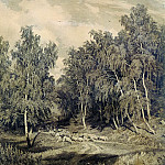 Ivan Ivanovich Shishkin - Landscape with a herd of sheep 1870. Etching