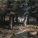 Ivan Ivanovich Shishkin - herd of sheep in the forest. Paper. ink, pen 36h53
