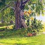 oak, sunny 26. 5x20. Watercolor on paper, bleached, Ivan Ivanovich Shishkin