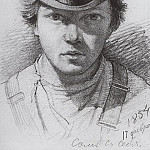 Self-Portrait 1854. Paper, graphite. pencil. 13. 3h9, 6, Ivan Ivanovich Shishkin