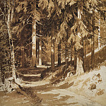 track in the woods. 1891 Paper, Sepia, Earl. pencil 61. 4h44. 5, Ivan Ivanovich Shishkin