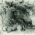 Ivan Ivanovich Shishkin - herd of sheep under an oak tree in 1863 13, 5h19, 6