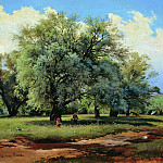 Willows, lit by the sun. Late 1860-s-nachalo1870 62h85, Ivan Ivanovich Shishkin