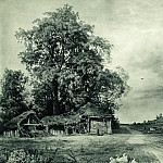1874 Village Paper. graph. pencil, white 55, 4h90, 3, Ivan Ivanovich Shishkin