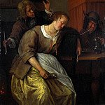 A Man Blowing Smoke at Drunken Woman, Jan Havicksz Steen