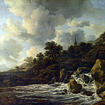 A Waterfall at the Foot of a Hill, near a Village, Jacob Van Ruisdael