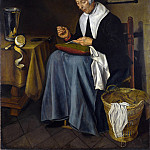 Johannes van der Aack – An Old Woman seated sewing, Part 4 National Gallery UK