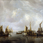A River Scene with Dutch Vessels Becalmed, van de Jan Capelle