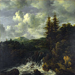 A Landscape with a Waterfall and a Castle on a Hill, Jacob Van Ruisdael