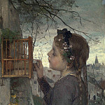 A Girl feeding a Bird in a Cage, De Schryver Louis Marie