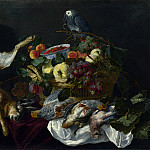 Jan Fyt – A Still Life with Fruit, Dead Game and a Parrot, Part 4 National Gallery UK