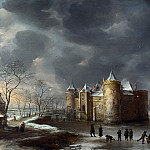 The Castle of Muiden in Winter, Jan Abrahamsz van Beerstraten