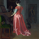 Part 4 National Gallery UK - Jacob Ochtervelt - A Woman standing at a Harpsichord, a Man seated by her
