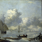 Jan van de Cappelle – Vessels in Light Airs on a River near a Town, Part 4 National Gallery UK