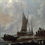 Vessels Moored off a Jetty, van de Jan Capelle