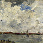 Jacob Maris – A Windmill and Houses beside Water – Stormy Sky, Part 4 National Gallery UK