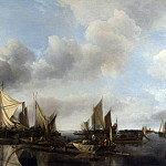 Jan van de Cappelle – A River Scene with a Large Ferry, Part 4 National Gallery UK