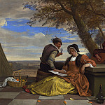 Two Men and a Young Woman making Music on a Terrace, Jan Havicksz Steen