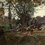 Peasants under the Trees at Dawn, Jean-Baptiste-Camille Corot