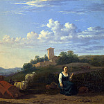 A Woman with Cattle and Sheep in an Italian Landscape, Karel Dujardin