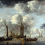 A Shipping Scene with a Dutch Yacht firing a Salute, van de Jan Capelle