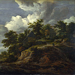 A Rocky Hill with Three Cottages, a Stream at its Foot, Jacob Van Ruisdael